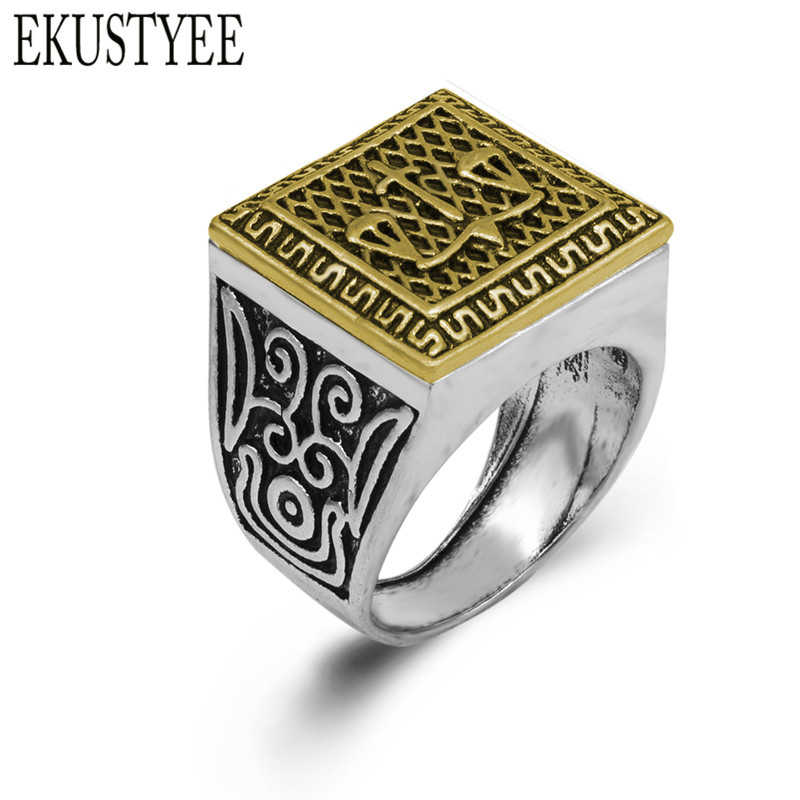 2018 High Quality Double Color Vintage Ring for Men Libra Top quality Ancient Silver Color Retro Men Rings