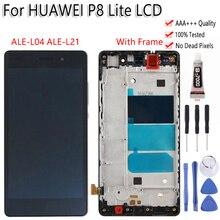 """5.0 """"Huawei P8 Lite ALE L04 ALE L21 lcd ekran dokunmatik ekranlı sayısallaştırıcı grup Çerçeve Ile Ücretsiz Araçlar Için P8 Lite LCD"""