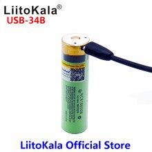 LiitoKala USB 34B 3,7 V 18650 Li Ion 3400mAh batería recargable USB con luz indicadora de LED DC de carga