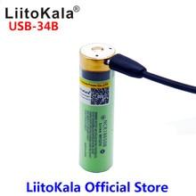 LiitoKala USB 34B 3.7V 18650 3400mAh Li ion USB şarj edilebilir pil LED gösterge ışığı ile DC şarj