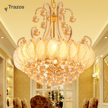 2017 Gold Round Crystal Chandeliers For Living Room Indoor Lamp with Remote Controlled luminaria home decoration Free Shipping