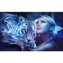 Beauty and tiger diamond Embroidery diy painting mosaic diamand 3d cross stitch pictures H831