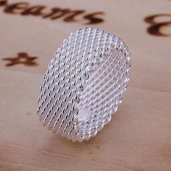 R040 Top Quality Silver Plated & Stamped 925 full fine mesh Ring for Women Men Gift Silver Jewelry Finger Ring