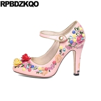 Handmade Rhinestone Pink Round Toe Crystal Mary Jane Women Rivet Stiletto Genuine Leather Pumps Flower Printed High Heels Shoes