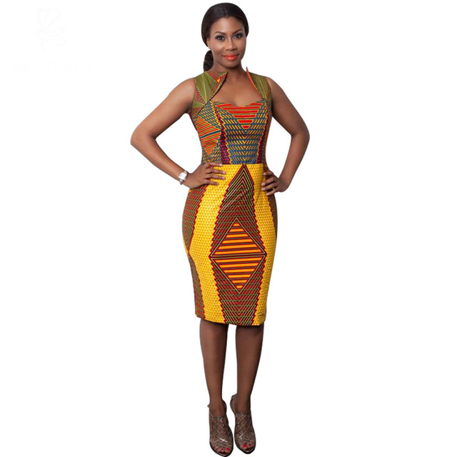 690add95ba Summer style lady Africa printed batik sleeveless dress women batik wax  printing dashiki knee length dress
