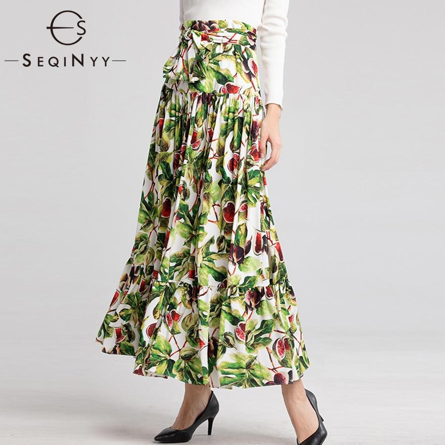 SEQINYY Casual Skirt 2018 Autumn Winter New Fashion Printed Pomegranate Flowers High Street Splicing Elegant Floor