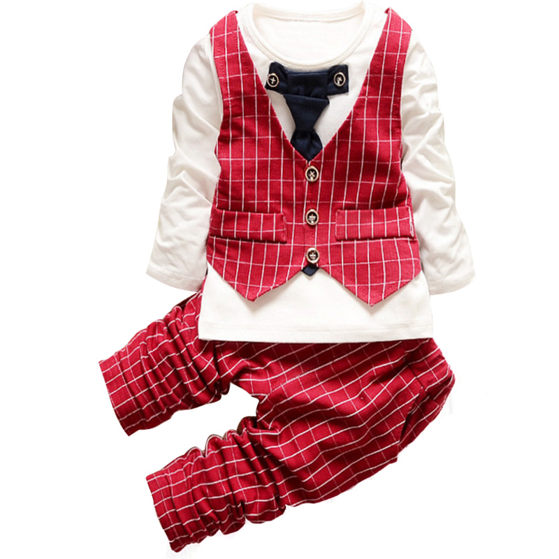 Newborn Formal Gentleman Suit Baby Boy Costume Plaid Children Clothing Boys Set Tie Kids Boy Clothes Long Sleeve Spring 2Pcs new 2018 spring fashion baby boy clothes gentleman suit short sleeve stitching plaid vest and tie t shirt pants clothing set