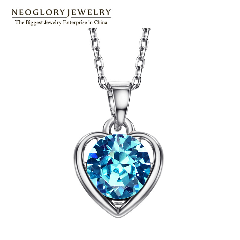 Neoglory Blue Heart Love Gifts Chokers Necklaces & Pendants For Women New 2020 Teen Girls Charm Fashion Jewelry He1 He-b B1 image