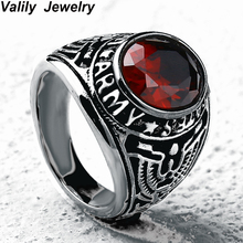 EdgLifU mannen Ring Vintage Zwart Roestvrij Crystal Ring Staal Verenigde Staten Militaire Ringen voor Vrouwen Zirconia Vinger Ring