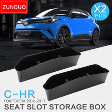 ZUNDUO Seat Crevice Storage Box / Bag For TOYOTA C-HR 2016 2017 Box Stowing Tidying ABS Interior Accessories Stowing Tidying