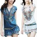 Nueva moda casual mujeres ropa de verano dress 2017 camisa vestidos bordado estilo popular vestido de fiesta femenina blusas vestidos