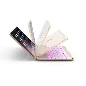 Caja De Aire Ipad Con Soporte | De Lujo Tablet Funda Para IPad/6/Air2 Smart Flip Cover 7 Colores De Luz De Aluminio Funda De Teclado Bluetooth IPad Aire Caso De IPad 2