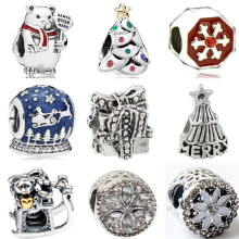 Btuamb Maxi Enamel Alloy Love Heart Snowman Crystal Snowflake Beads Fit European Pandora Charm Bracelets Women DIY Jewelry Gift(China)