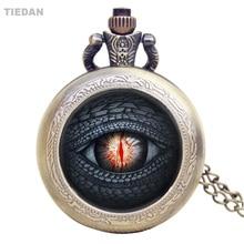 TIEDAN Fashion Black Eye Design Små Steampunk Brons Vintage Fickur för Unisex Gåvor Retro Fob Watch med Halsband H36