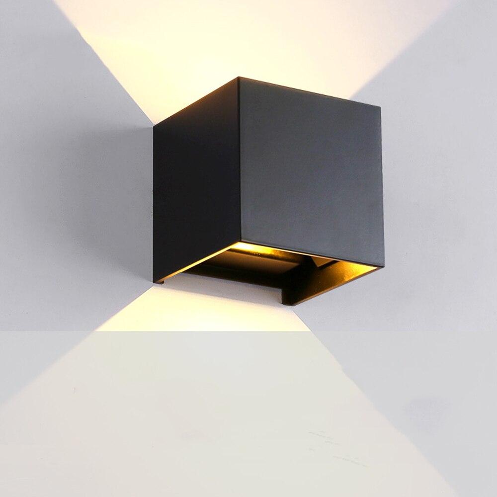 Wandleuchte LED Schalter Up Down Licht Außen Schwarz Wandleuchte Luminarias Flexible Garten Beleuchtung Wasserdichte 110-220 v Wandleuchte