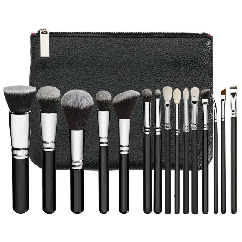 Brand makeup brushes set complete luxury cosmetic tool 15 rose golden brush kit blend brush with leather bag professional