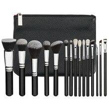 Бренд макияж кисти комплект роскошные косметические Инструмент 15 golden rose кисти комплект смесь кисти с кожаный мешок профессиональный