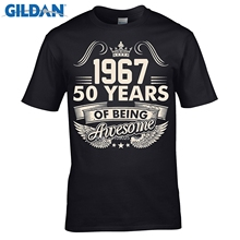 87aa7a1cbdc9 GILDAN men fashion brand t shirt Birthday 50 Years Awesome Since 1967 Men s  T-Shirt New 2019 Hot Summer Casual T Shirt