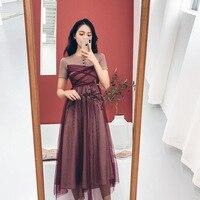 HAYBLST Brand Elegant Women Dress 2019 New Summer Fashion Striped Patchwork Net Yarn Clothing Plus Size Womens Long Korean Dress