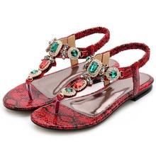 5f79789c9f52e7 snake printting roman clip toe sandals women big rhinestone flip flops  summer gladiator sandalias women slippers