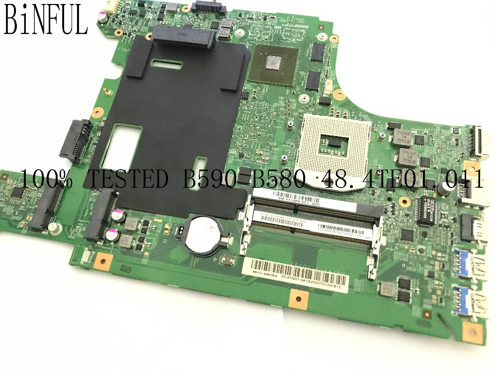 BiNFUL 100% TESTED NEW LA58 11273 1 48.4TE01.011 LAPTOP MOTHERBOARD FOR LENOVO B590 NOTEBOOK VIDEO CARD N13M GE1 B A1
