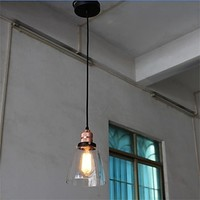 Style Loft Industrial Vintage Pendant Light Brass Fixtures With Glass Lampshade Lampen Hanglampen