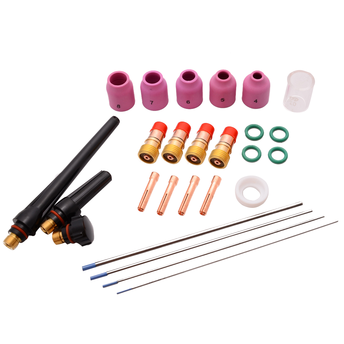 26pcs Durable TIG Gas Lens Kit Nozzle Cup Tungsten Gas Lens WL20 Kit For TIG WP-17/18/26 Welding Torch