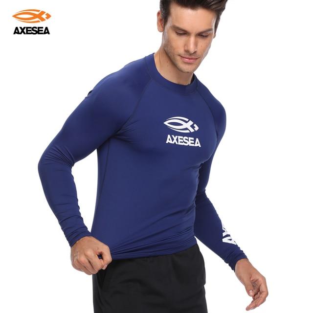 1e9fcc3645 AXESEA Men Swimsuit Long Sleeve Rashguard Sun Protection Swimwear UV Solid Surfing  Shirt Top UPF50+ Rash Guard Swimming Suit