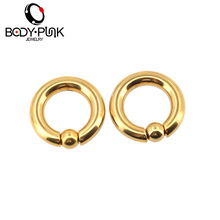 BODY PUNK BCR GOLD Captive Hoop Ball Closure Captive Ring Lip Nose Ear Tragus Septum Ring 2.5mm 4mm 5mm Rose Gold Body Jewelry(China)