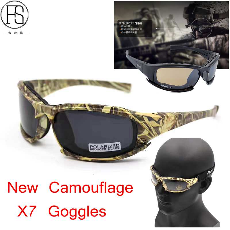 New Camouflage Polarized Tactical X7 Glasses Military Goggles Army Sunglasses With 4 Lens Original Box Men