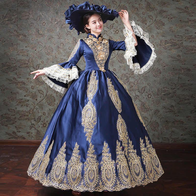 3a41647ac0f ... Dark Blue Gothic Victorian Dress Period Rococo Belle Dresses Plus Size  ...