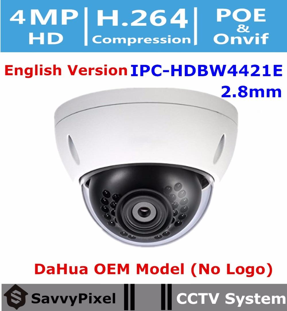 DaHua Original English Surveillance Camera IPC HDBW4421E OEM 4MP WDR Vandalproof IR Dome CCTV Camera Fixed