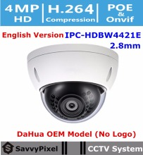 DaHua Original English Surveillance Camera IPC-HDBW4421E OEM 4MP WDR Vandalproof IR Dome CCTV Camera Fixed Lens 2.8mm No Logo