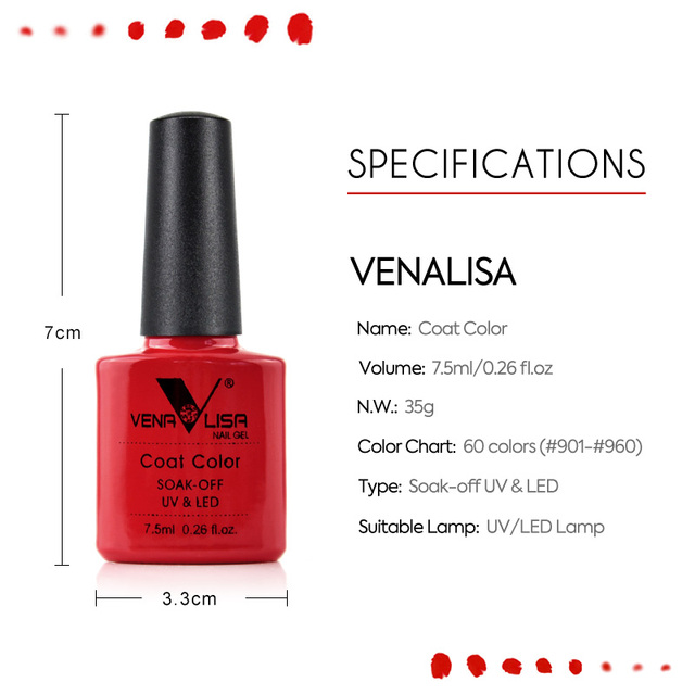 Venalisa nail Color GelPolish CANNI manicure Factory new products 7.5 ml Nail Lacquer Led&UV Soak off Color Gel Varnish lacquer 3
