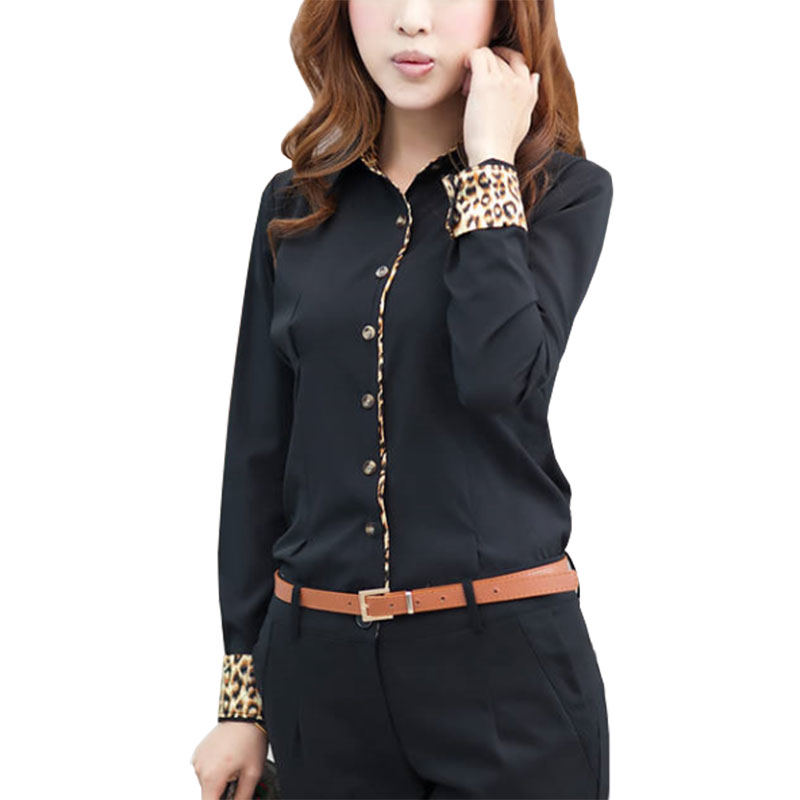 Autumn blouse new Korean models leopard sleeve women blouses stitching long-sleeve shirt blusas clothing vestidos LBD1286 Блузка