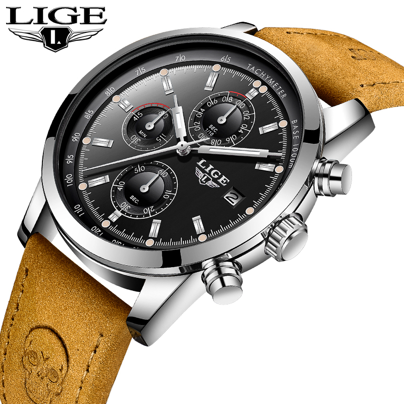 LIGE Men Watches Top Brand Luxury Leather Casual Quartz Watch Men Sport Military Waterproof Clock Gold Watch Relogio Masculino relogio lige new top brand fashion luxury gold mesh band creative wristwatch casual women watch quartz clock gift gold watch men