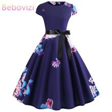 Bebovizi Women 2019 Summer New Style Vintage Dark Blue Flower Print Plus Size Short Vestidos Casual Office Elegant Bandage Dress