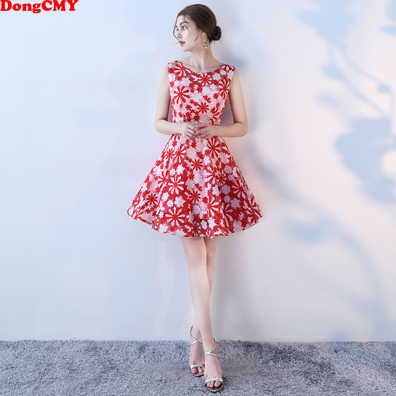 DongCMY   Prom     Dresses   Short Mini Red Mini Women Sleeveless Party   Dress