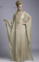2016 New Arrival Hot Chiffon Button Embroidery A Line Dubai Moroccan Kaftan Abaya Jilbab Islamic Yellow Evening Dress