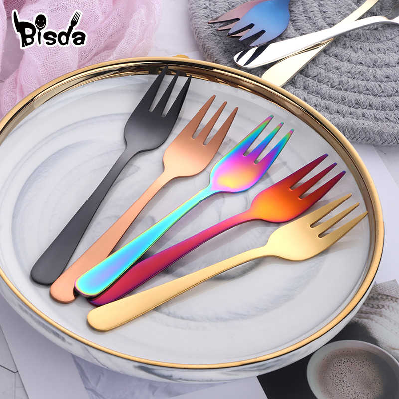 7pcs Tea Fork Set stainless steel Small Fruit Fork Set Gold Dessert Fork For Cake Snack Gold Salad Fork dinnerware set