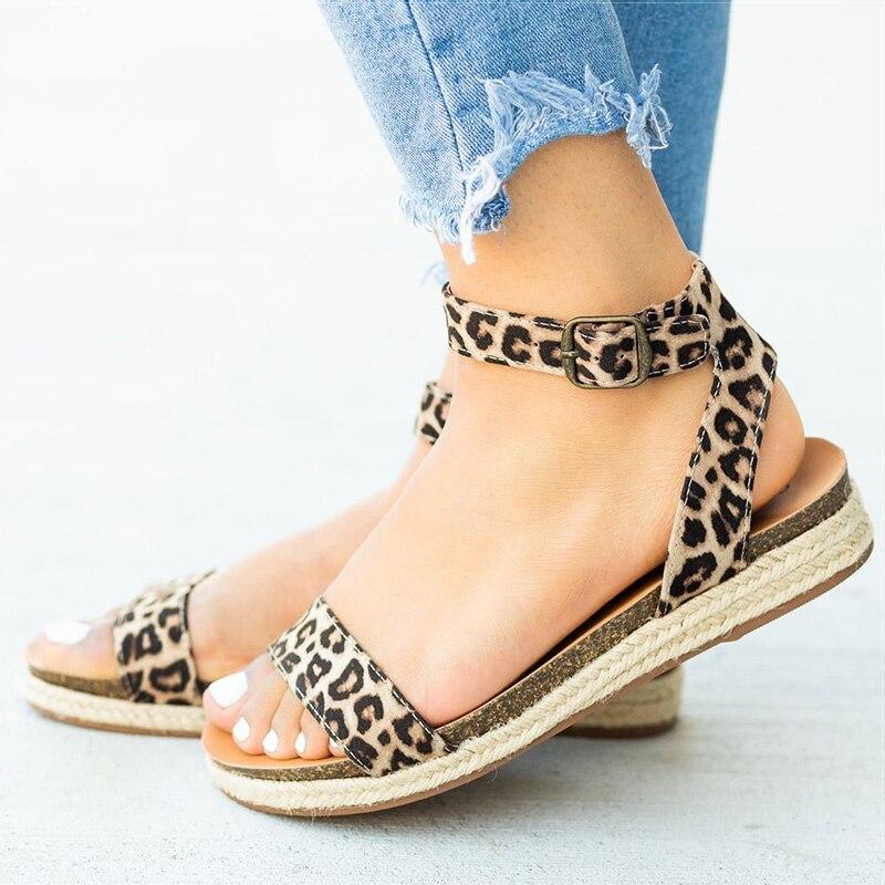 Women Sandals Comfort Women Shoes Leopard Flat Sandals Summer Ladies Shoes Woman Sandalie Buckle Espadrilles Plus Size 43