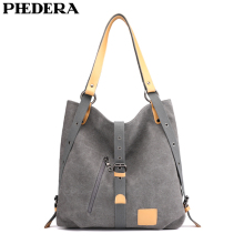 PHEDERA New Multipurpose Women Shoulder Bags High Quality Canvas Female Handbags 2019 Arrival Casual Purse Bag