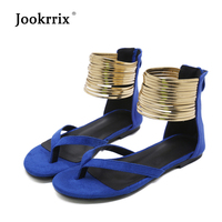 Jookrrix 2018 New Fashion Brand Gladiators Rome Style Girl Summer Shoes Woman Sandals Flats Ankle Golden Foot Ring Soft Black