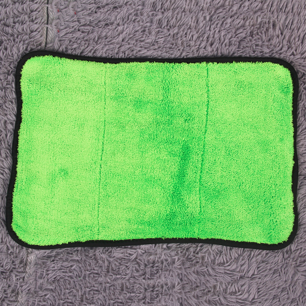 2016 High Quality Microfibre New 45cmx38cm Super Thick Plush Microfiber Car Cleaning Cloths Towel Green/Orange Hot Selling
