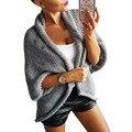 2017 женщины осенняя мода V-образным Вырезом свободные трикотажные кардиган серый форме крыла летучей мыши половины рукав свитера sexy открыть стежка куртки femme