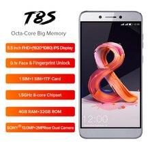 هاتف محمول LEAGOO T8s بشاشة 5.5 بوصة بدقة FHD 16:9 وذاكرة وصول عشوائي 1920*1080 وذاكرة قراءة فقط 4 جيجابايت وذاكرة قراءة فقط 32 جيجابايت يعمل بنظام الأندرويد 8.1 MT6750T ومعرف ثماني النوى ببصمة وجه وكاميرا 13 ميجابكسل هاتف ذكي مزود بتقنية الجيل الرابع OTG