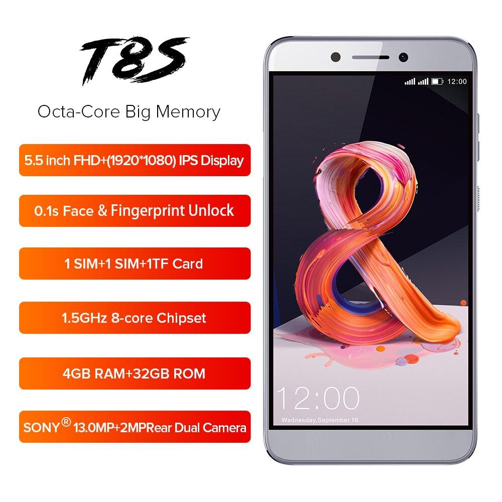 Téléphone portable LEAGOO T8s 5.5 ''FHD 16:9 1920*1080 RAM 4 GB ROM 32 GB Android 8.1 MT6750T Octa Core Face ID 13MP 4G Smartphone OTG