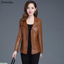 Orwindny кожаная куртка женская мода размера плюс 5XL мотоциклетная куртка короткая искусственная кожа байкерская куртка мягкая женская замшевая куртка