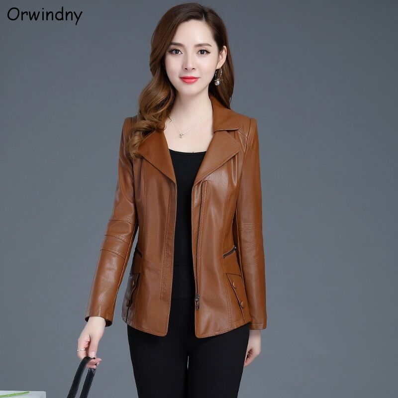 Orwindny   Leather   Jacket Women Fashion Plus Size 5XL Motorcycle Coat Short Faux   Leather   Biker Jacket Soft Jacket Female   Suede