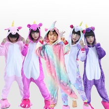 Купить с кэшбэком New Sweet Cartoon Pegasus Panda Unicorn Children Boys Girls Pajamas Soft Flannel Animal Sleepwear Kids Blanket Onesie 4-12 Year